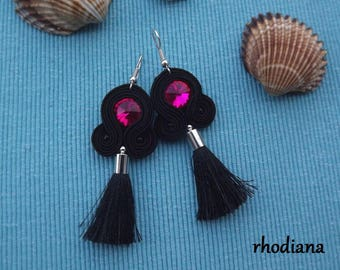 Black & Fuchsia with tassel soutache earrings