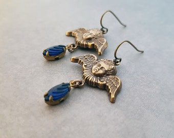 Cherub Earrings Gothic Victorian Jewelry Dark Navy Blue Glass Drops Intricate Winged Angels Detailed Charms Ornate Baroque Putti Brass