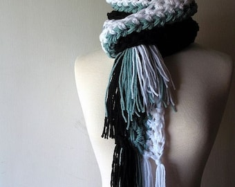 UniScarf Stripe Fringe Scarf in Black Onyx White Sky Blue