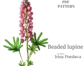 PDF TUTORIAL French Beaded Flower Lupine Pdf Pattern Diy Flower Pattern Diy Gift Flower Pattern Seed Bead Tutorial DIY project How to make