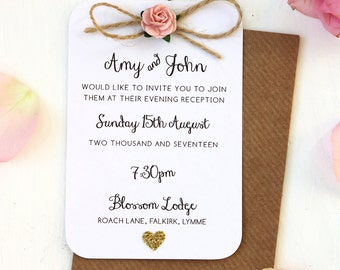 Rustic Rose and Gold Heart Small Evening Invitation - Twine Bow Detailing