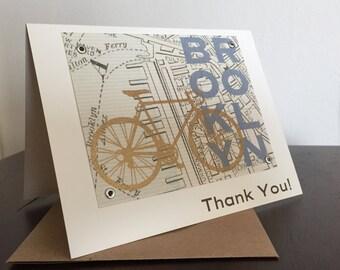 Brooklyn Map and Bike - 24-Pack Screen-Printed Thank You Cards