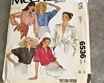 Button-Down Puff Sleeve Blouse Sewing Pattern / Vintage 1970s Misses Size 16, Bust 38 / McCalls 6536