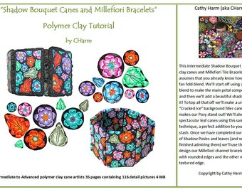 Shadow Bouquet canes and Millefiori Bracelets polymer clay tutorial by CHarm