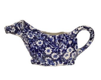 Vintage 60's Royal Crownford, Stafforshire Cobalt Blue & White CALICO Ironstone/ 'Transferware' Cow Creamer