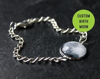 Custom Birth Moon Bracelet- Personalised date Glass Dome full moon Bracelet moon phase Birthday Birthstone