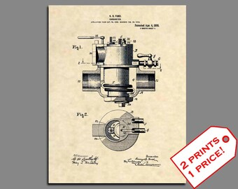 Patent Prints - Henry Ford Carbureter Patent Print - Vintage Classic Car Art - Classic Car Artwork Mechanic Gift Patent art - Wall Art - 248