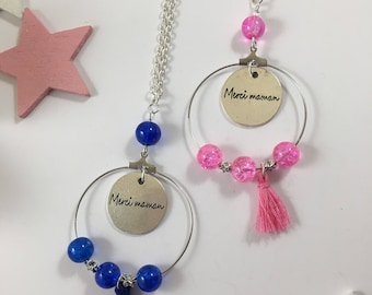 Pink/blue and silver necklace for moms