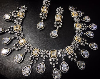 Indian Bollywood Style CZ AD Wedding Silver Fashion Jewelry Necklace Set