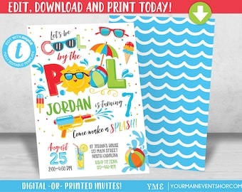 Pool party invite etsy pool party invitation pool party birthday invitation boy pool party birthday party invitation cool by the stopboris Choice Image