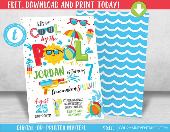 Pool Party Invitation Pool party birthday invitation Boy Pool Party birthday party invitation Cool by the Pool Summer Swim Party
