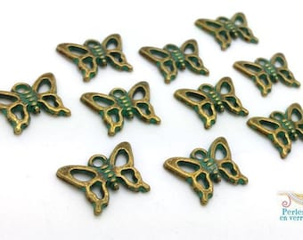 10 charms, bronze, verdigris patina Butterfly nickel 12x16mm (BRE440)