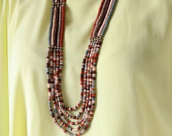 Long Beaded Necklace - Boho Beaded Necklace