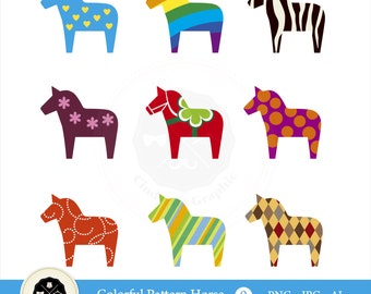 Colorful Pattern Horse Clipart,unicorn clipart,pattern clipart,dala horse,clipart,digital download
