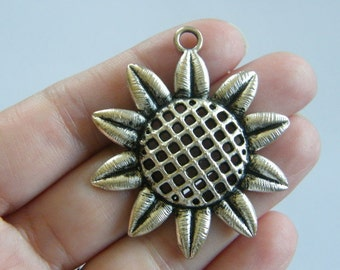 BULK 10 Huge daisy or sunflower charms antique silver tone F122