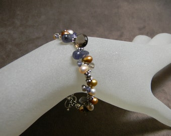 Smoky Quartz, Iolite, Freshwater Pearl and Sterling Silver Cluster Bracelet - 7""