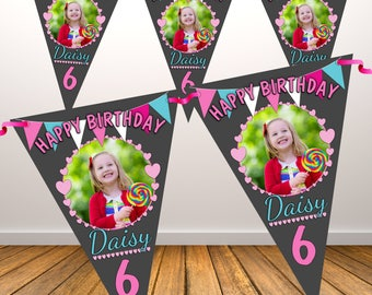 Personalised Happy Birthday PHOTO Flag Banner Bunting with ribbon N83 (10 Flags ) Hanging Decoration Girls Any Age / Text