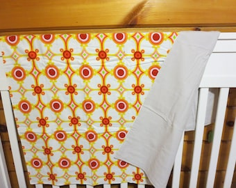 Unlined Red and Yellow Pattern-  Crib Blanket-Crib Blanket- Baby Receiving Blanket