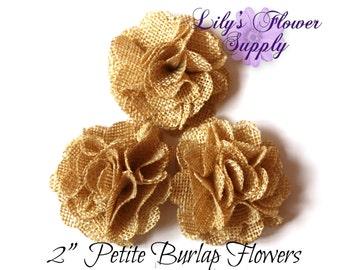 Tan Petite Burlap Flowers - Burlap Flower - 2 Inches - Fabric Flower - Burlap Rose - Rolled flowers - Wholesale - supply