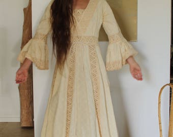 Crochet Bell Sleeve Peasant Dress | Bohemian Wedding Dress