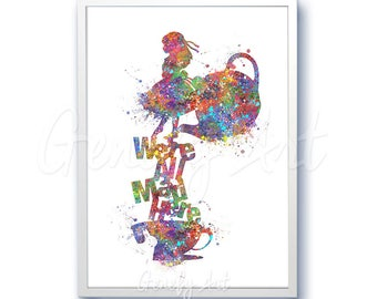 Alice in Wonderland Cheshire Cat Quote [4] Watercolor Poster Print - Watercolor Painting - Watercolor Art Kids Decor Nursery Decor