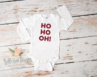 Pregnancy Announcement for Christmas Ho Ho OH Onesie | New Baby | Expecting Baby Onesie | Baby To Be | Pregnancy Surprise | 358