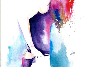 Original Watercolor Illustration - Figurative Watercolor Painting Titled: California Girl