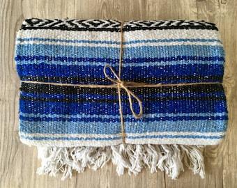 Blue Mexican Throw Beach Blanket Yoga Blanket