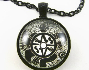 THE DANCER Necklace -- Native American mystic dancer with sacred symbols, Tribal spiritual art, For him or her, Drum beats
