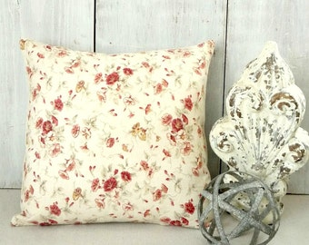 Red Floral Pillow - Red Rosebud Pillow Cover - Red Roses Throw Pillow - Shabby Cottage Chic - Soft Farmhouse Style