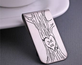 Custom Money Clip, Personalized Valentine's Day Gift for Him, Personalized Tree with Initials and Year, Valentine's Gift for Boyfriend