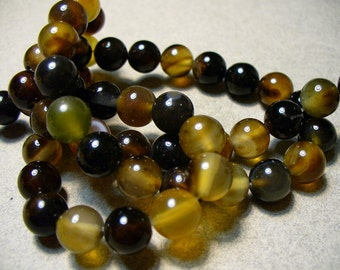 Agate Beads Gemstone Black and Brown Round 7-8MM