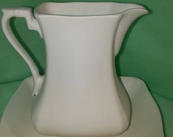 Square Pitcher and Bowl