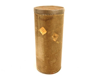 """Vintage Mailing Tube with Screw Top by Improved Mailing Case Co. 10.5"""" tall (c.1920s) - Collectible, Office Organizer, Storage Tin, Gift Box"""