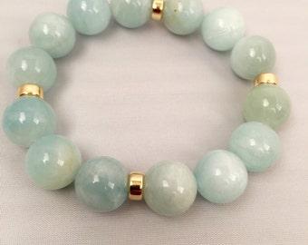 Natural Aquamarine and 14K Gold Bracelet