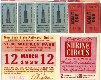 Vintage Tickets- Full Color - Clip Art - Digital Collage Sheet - Printable