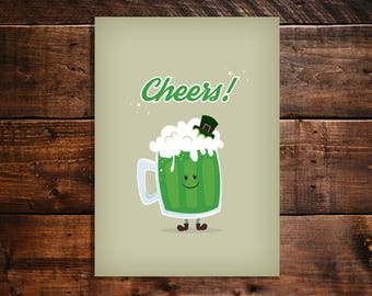 Instant Download. Saint Patrick's Day Greeting Card. Cheers.