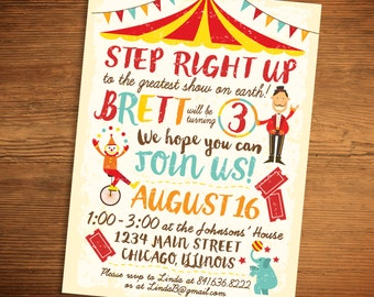 Circus Carnival Birthday Invitation (Printable PDF)