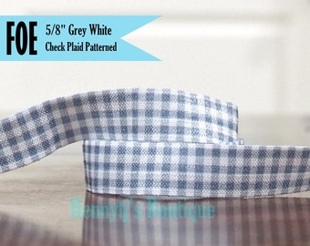 """5/8"""" FOE : White Grey Printed Check Plaid Gingham Patterned Fold Over Elastic Stretch Band 2, 5, 10 Yards. DIY Headband Supplies"""