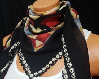 Colorful Scarf,scarf, Square scarf, wrap Green Scarf, Grey scarf, Cream Scarf, Needle work Scarf, Tatting Scarf, Sided Scarf, Head Scarf