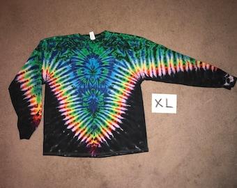 Tie Dye T-Shirt ~ Rainbow /Black V with Aqua Spider i-7845  Long Sleeve XL