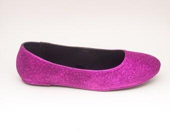 Glitter   Hot Fuchsia Pink Ballet Flat Slipper Shoes