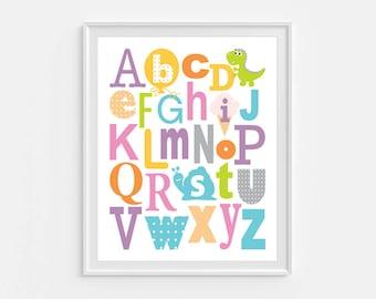Alphabet poster, PRINTABLE ABC wall art, nursery print, alphabet wall art, digital print, nursery abc decor, kids room decor, playroom, pink