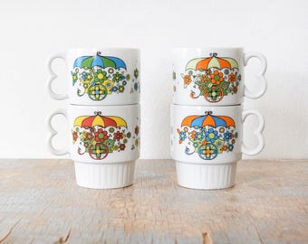 Reserved stackable floral mugs, vintage 70s flower cart coffee mugs, mod flower power white ceramic coffee cups
