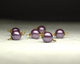 Vintage Style Bead Dangles Connector Beads Set of Six Purple Glass Pearls PR67