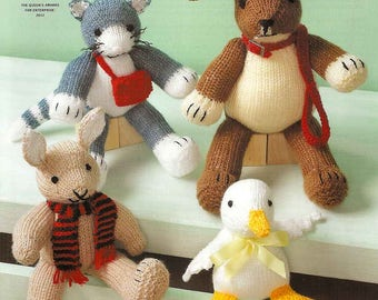 King Cole Knitting Pattern 3000~Four Animal Friends~DK & Aran