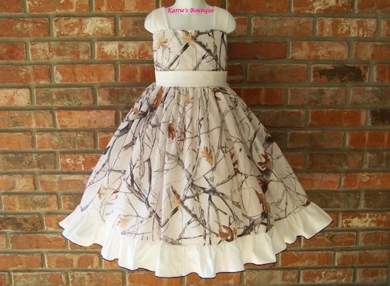 Camo halter dress snow camo white flower girl wedding like this item mightylinksfo Gallery