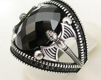 Handmade 925 Sterling SilverBlack Zircon & Marcasite Sufi sufism Axe Men's Woman's Ring