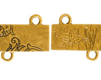 Floral Rectangle, GOLD Connector, 30x18x1mm, by Nunn Designs. NDFRGC