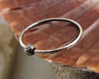 Silver Fidget Ring.Relax Ring. Spinner Ring.Spinning Bead Ring.Hammered Tiny Ring